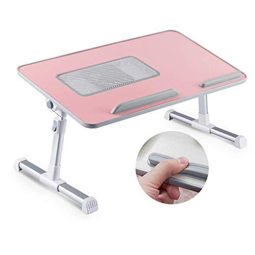 Klein draagbaar Voor bed/Laptop Bureau/Staande werkbank/Slaapbank Ontbijtlade, In hoogte verstelbaar/Hoek verstelbaar/Opvouwbaar/USB-koelventilatorsysteem