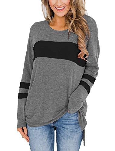 Hilltichu Womens Color Block Long Sleeve Shirt Pullover Round Neck Side Split High Low Tunic Tops (Medium, Gray & Black)