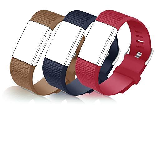 STAY Active Correas de Recambio para Fitbit Charge 2, Reloj Inteligente y Deportivo para Mujer y Hombre | Marca del Reino Unido - Diamante de Silicona (Marrón, Azul y Roja – Pequeña)