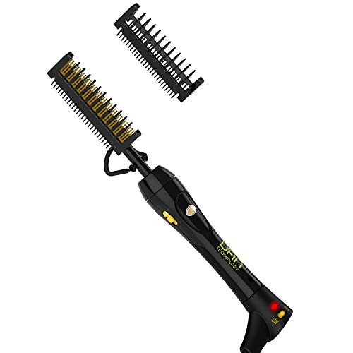 DAN Technology Anti-Scald 200℉-500℉ Electric Press Hot Comb for Black Hair, Beard and Wigs, Ceramic Unisex Hair Beard Straightener and Curler, Dual Voltage for Travel, Home and Salon Use