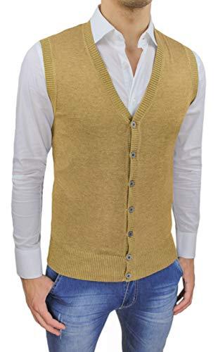 Evoga Gilet smanicato uomo slim fit casual elegante corpetto maglia cardigan (M, Giallo senape)