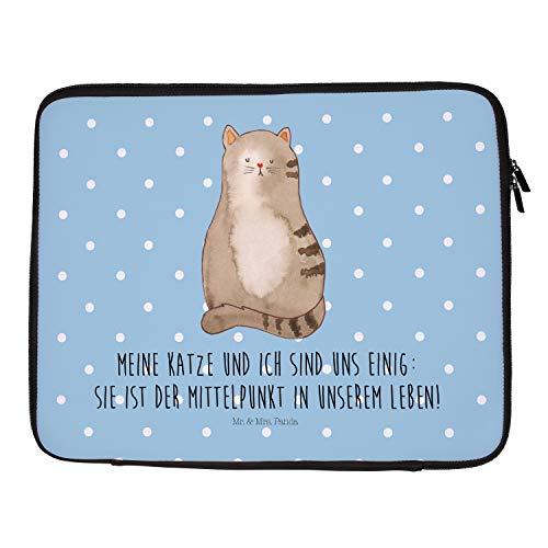 Mr. & Mrs. Panda Laptop, Schutzhülle, 33 x 42 Notebook Tasche Katze sitzend mit Spruch - Farbe Blau Pastell