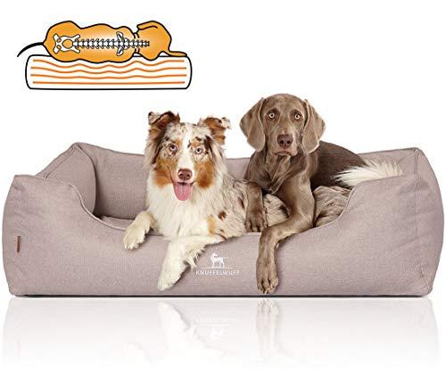 Knuffelwuff Orthopädisches Hundebett XXL Luisa Hundekorb Hundesofa Hundekissen Hundekörbchen waschbar Beige 120 x 85cm grosse Hunde