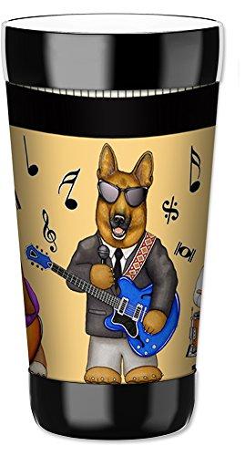 Mugzie vaso bebida taza con cubierta extraíble de traje de neopreno con aislamiento–Musical perros, plástico, Multicolor, 454 g