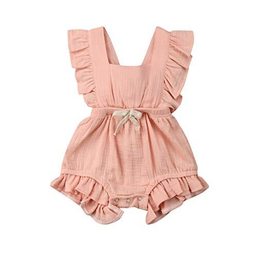 JUTOO Neugeborenes Baby Mädchen Kinder Farbe einfarbig Rüschen Rückkreuzspielanzug Bodysuit Outfits (Rosa,80)
