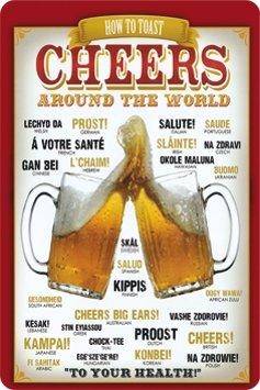 Metalen bord Bier zum Wohl! Proost. Cheers Worldwide 20 x 30 cm reclame retro blik 230