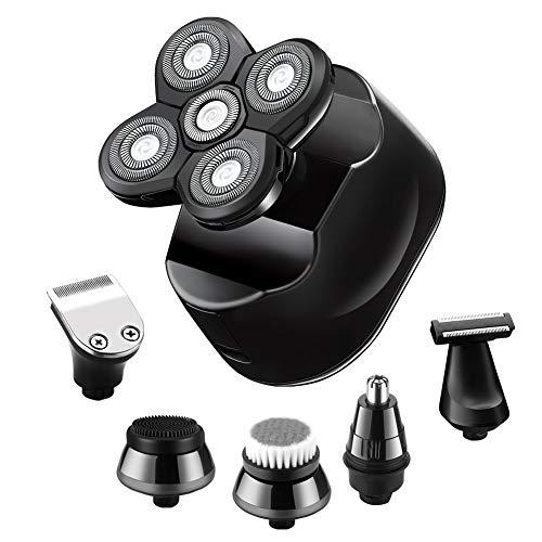 SURKER 6 in 1 Elektrorasierer für Männer, Glatzkopfrasierer, Elektrorasierer, wiederaufladbar, kabellos, Nass- und Trocken-Rasierer, Haarschneider, LED