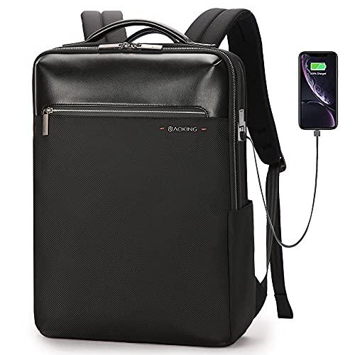 AOKING Zaino impermeabile con porta USB per laptop da 15,6 pollici Nero Taglia unica