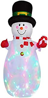 6 Feet Tall Snow Men LED Light Up Giant,Christmas Xmas Airblown Inflatable Santa Perfect for Blow Up Yard Decoration, Indoor Outdoor Yard Garden Christmas Decoration