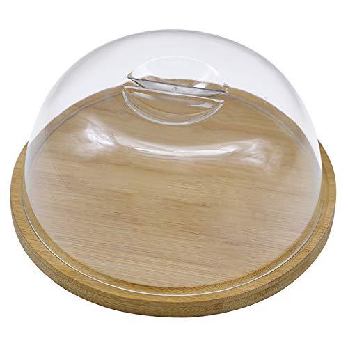 e!Orion - Contenitore per formaggio rotondo con coperchio in plastica, in legno di bambù, ideale per mantenere freschi i vostri formaggi, diametro: 18 cm