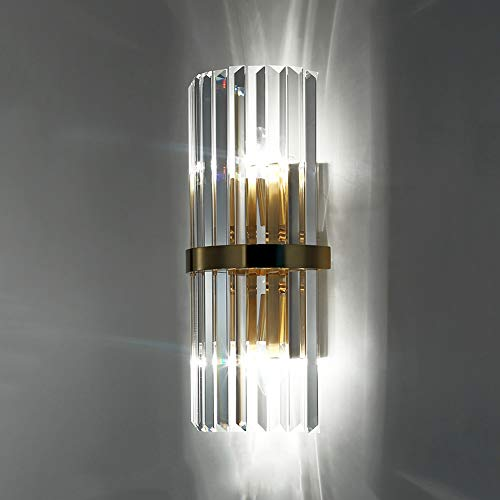 De enige goede kwaliteit Decoratie LED Goud Heldere Crystal Wandlamp Porch Aisle Corridor Eetkamer Woonkamer Slaapkamer Studie Trappen Balkon Wit Warm Geel Licht Moderne Eenvoudige Strijkijzer