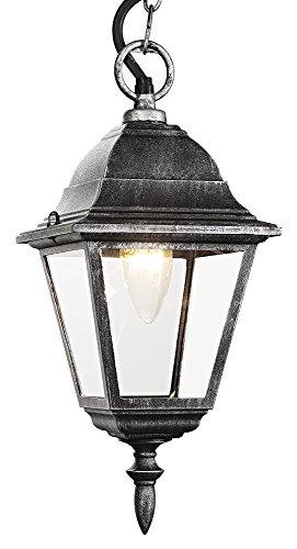Zwart/zilver gegoten aluminium IP44 hanglamp voor buiten