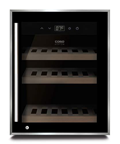 Caso Winesafe 12 Black - Design Weinkühlschrank für bis zu 12 Flaschen (bis zu 310 mm Höhe), eine Temperaturzone 5-20°C, Getränkekühlschrank, Energieklasse A
