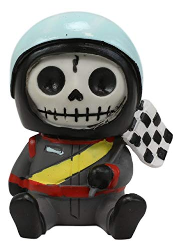 """Ebros Gift 2.5"""" Tall Furrybones Jerry The Racer Race Car Driver with Racing Helmet and Finish Line Flag Collectible Figurine Skeleton Monster Speedster Hooded Costume Furry Bones Skeletons Statue"""