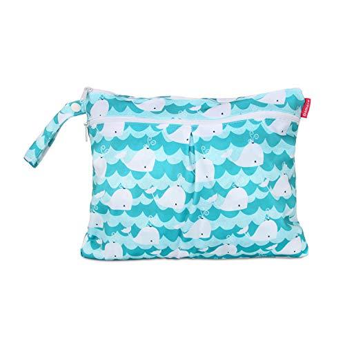 Damero windeltasche wetbag wiederverwendbar, Nasstaschen für Unterwegs, Wetbag windelbeutel für Babys Windeln, schmutzige Kleidung und anderes Zubehör, (Kleine, Katze)