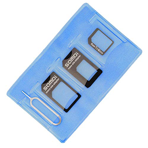 Samdi Sim Card Adapter Kit Includs Nano Sim Adapter/Micro Sim Adapter/Needle/Storage Sheet(Sim Card Holder),Easy to Use and Storage Without Losing Them (Blue-Black)