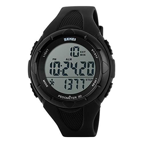 TOPCABIN Mädchen Uhren Damen Jungen Kinder Digital Armbanduhr mit Wecker/Timer/LED-Licht,wasserdichte Elektronische Multifunktions-Step Counter Sports Uhren für Damen Schwarz