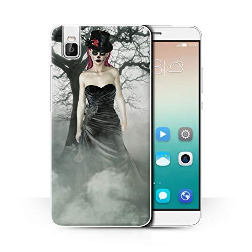 Stuff4® Hülle/Case für Huawei Honor 7i/ShotX/Schwarzes Kleid Frau Muster/Tag Der Toten Festival Kollektion