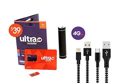 $39 Ultra Mobile Unlimited Talk Text and Data Plan- 4G LTE on GSM (T-Mobile) Network - 3 in 1 Prepaid SIM Card - 3ft Lightning and Micro USB Cable - Ultra Compact 1200 mAh Portable Charger