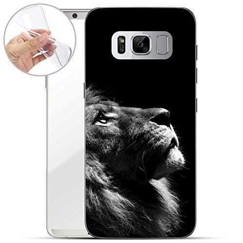 Preisvergleich Produktbild Finoo / geeigent für Samsung Galaxy S8 Weiche Flexible Silikon-Handy-Hülle / Transparente TPU Cover Schale mit Motiv / Tasche Case Etui mit Ultra Slim Rundum-Schutz / Löwe V2
