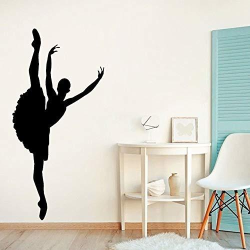 Calcomanía de pared de bailarina para el hogar, dormitorio, estudio de baile, decoración de pared, Fondo, Mural, papel autoadhesivo extraíble, A1 27x57cm
