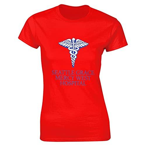 Liuqy Grey's Anatomy Hospital - Camiseta clásica para mujer, rosso, L