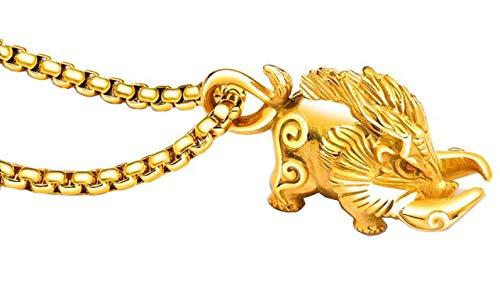 WLG Salvaje Jabali Conformado Inoxidable Acero Colgante Collar para Hombres Navidad/Gold/con la cadena