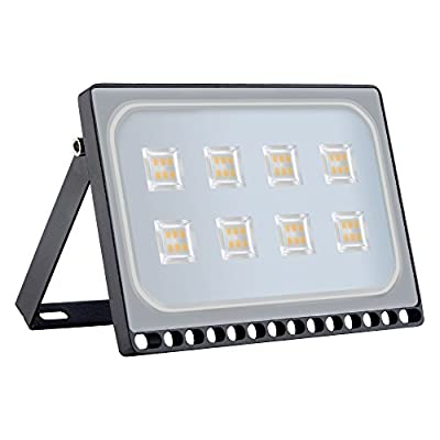 Viugreum 50W LED Flood Light, New Slim Design, IP67 Waterproof Outdoor Floodlights, 4000LM Warm White (2800-3200K), Super Bright Security Wall Light for Garage, Garden, Yard, Square
