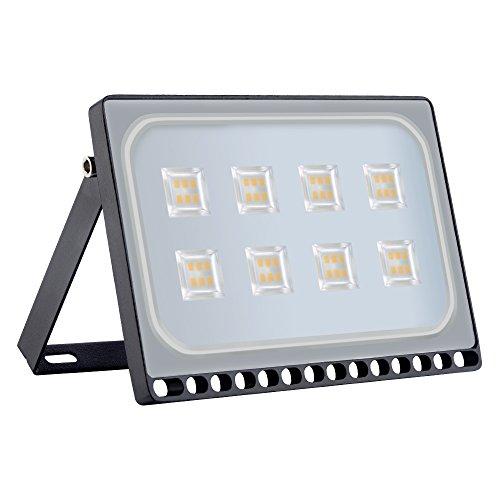 Proyector LED para exteriores, reflector IP67, diseño ultradelgado y ultraligero para jardín, jardín, terraza, cuadrado [Clase de eficiencia energética A ++] (50W, Blanco Cálido)