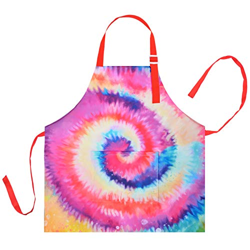 Kid Girls Boys Apron, Adjustable Kitchen Cooking Chef Apron with Pocket for Cooking Baking Art Painting Gardening,Tie Dye