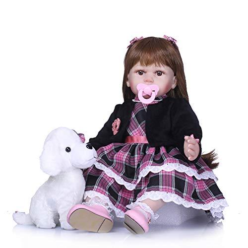 Amyove Reborn Baby Puppe, 60 cm Simulation Puppe Handgemachte Silikon Mädchen Lebensechte Realistische Spielhaus Spielzeug Kind Komfort Helfer Rosa