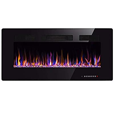 """Xbeauty 50"""" Electric Fireplace in-Wall Recessed and Wall Mounted 1500W Fireplace Heater and Linear Fireplace with Timer/Multicolor Flames/Touch Screen/Remote Control (Black)"""