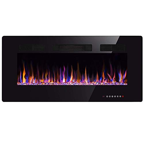 Xbeauty 30 inch Wall Mounted Recessed Electric Fireplace Insert, Flush Mount Linear Fireplace, Ultra-Thin Lightweight LED Fireplace Heater, Fit 2x4&2x6 Stud w/Touch Screen,Remote Control,1500W,Black