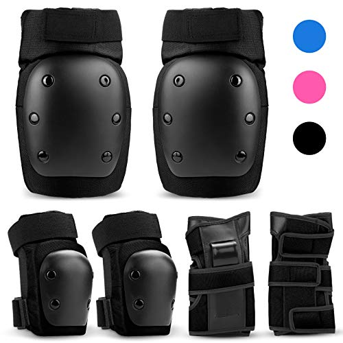 IPSXP Protective Gear Set with Elbow Pads, Knee pad Bracelets for Children Skater, Roller Blading, Skateboard, Scooter, Cycling(M)