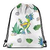 Mochila deportiva con cordón para bebé, diseño de dinosaurio, bolsa de viaje para niños, hombres y mujeres