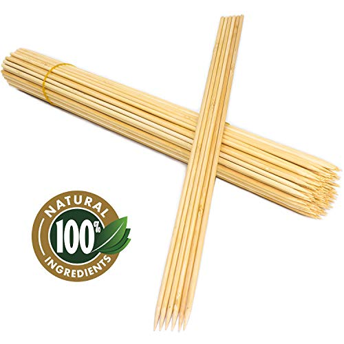 TCEBUY Pinchos de madera para barbacoa, 40 cm, 100 unidades, extra largos y fuertes, apto para bonfires, camping, parrilla