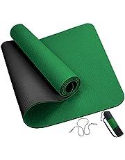 ROMIX Yogamatta, 6MM Tjock Dubbel Sidigt TPE Träningsmatta med Bära Väska och Rem, 183 X 61 X 0.6 CM Miljövänlig Halkfri Fitnessmatta för Män Kvinnor Hem Gym Pilates Träning Meditation