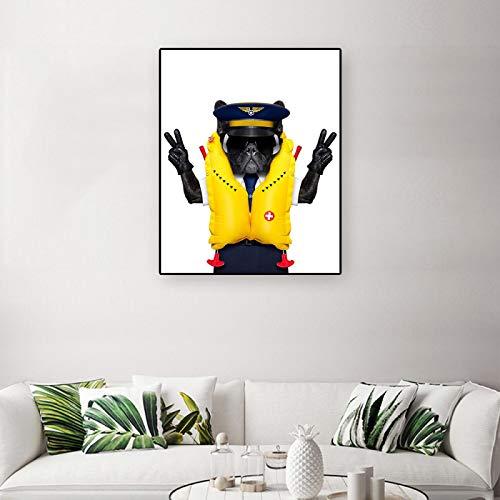 JinYiGlobal Pintura en Lienzo Arte de la Pared con Gafas de Sol Animal Perro en Ropa Póster e Impresiones Sala de Estar Infantil Imagen de decoración del hogar 50x70cm Sin Marco