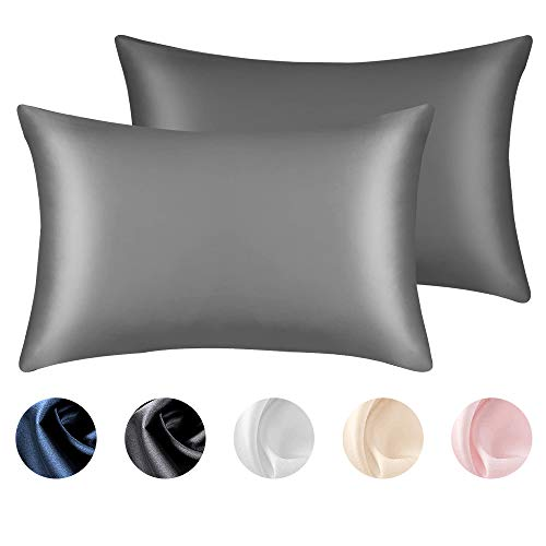 """Lacette Silk Pillowcase, King Pillowcase Sets of 2, Dual Sided 25 Momme Silk Fabrics/Wood Pulp Fiber, Mulberry Silk Pillowcase for Hair and Skin,Bed Pillowcases with Hidden Zipper (20""""×36"""", Dark Gray)"""