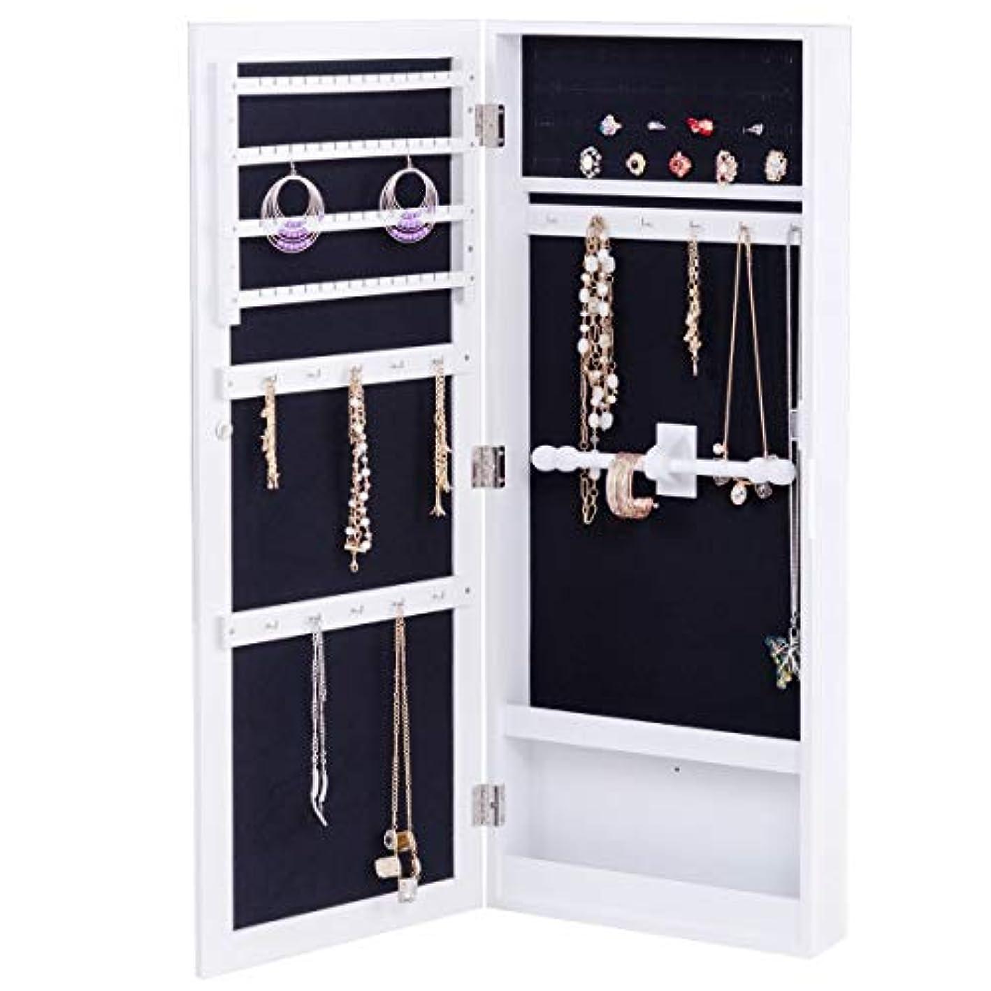 Giantex Jewelry Armoire Cabinet Mounted Mirrored Jewelry Organizer Storage, Flash Silvery