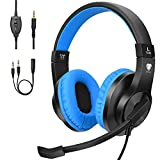 BlueFire Kids Headphones for Online School, Children, Teens, Boys, Girls, 3.5mm Stereo Over-Ear Gaming Headphone with Microphone and Volume Control Compatible with PS4, New Xbox One(Blue)