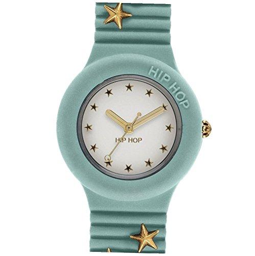 Orologio HIP HOP donna PUNK ROMANCE quadrante bianco e cinturino in silicone, glam azzurro, movimento SOLO TEMPO - 3H QUARZO