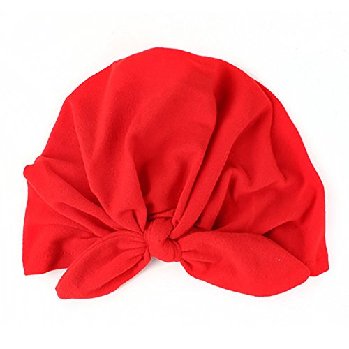 TrifyCore Baby Cap Kids Baby Cotton Soft Turban Knot Hat Rabbit Ears Stretchable Cap (Red) 1pc