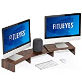 FITUEYES Supporto Monitor in Legno Girevole Lunghezza Regolabile PC Schermo per Computer Portatile Riser 92.5-108x23.5x10.2cm,Marrone DT108002WB
