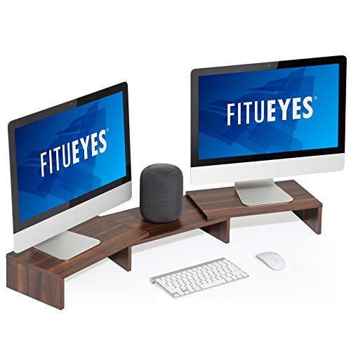 FITUEYES Soporte Vertical para Monitor de computadora, Organizador de Escritorio Ajustable en ángulo y Longitud de 3 estantes, marrón Nogal DT108002WB