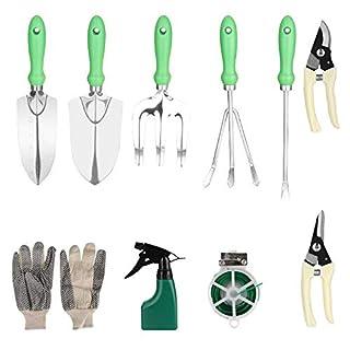 scheda queta set di attrezzi da giardino set di 10 attrezzi da giardino per piantare con cesoie, cazzuola a mano, cazzuola,rastrello, guanti, ecc.