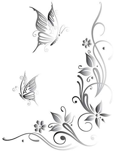 DD Dotzler Design 041215 Klebe-Folie Schmetterling Tattoo Tribal Blumen-Ranke Ornament Auto-Aufkleber Vinyl-Folie Auto-Dekor Aufkleber-Folie spiegelverkehrt (43 x 57 cm) Silber-metallic