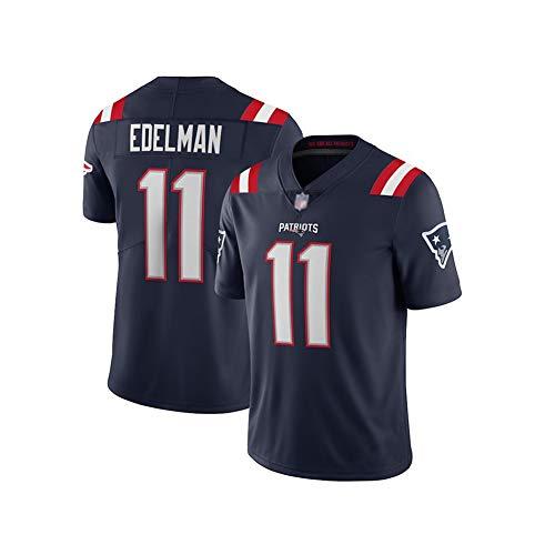 Rugby-Trikot Julian Edelman # 11 New England Patriots American-Football-Trikot, Unisex-Sport-Kurzarm-Sweatshirt Fitness Atmungsaktive Stickerei Wiederholbare Reinigung Navyblue-L(180cm