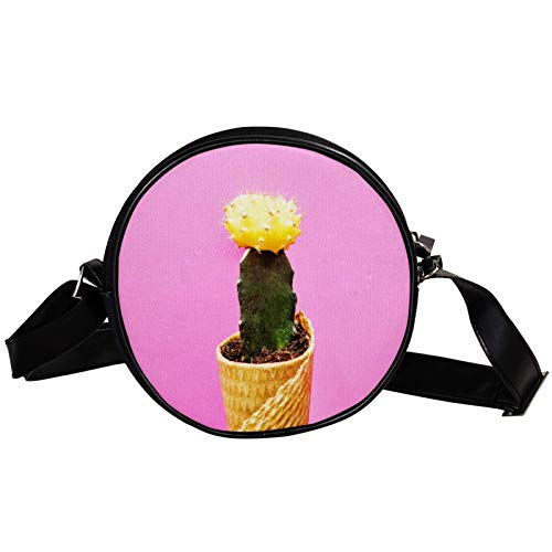 Bandolera redonda pequeña bolso de mano para mujer, bolso de hombro de moda, bolso de mensajero de lona, bolsa de cintura, accesorios para mujer, cactus rosa