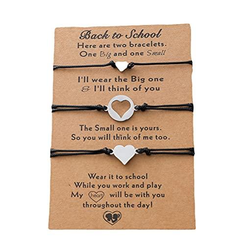 Pulsera de la amistad, 3 unids/set de acero inoxidable hueco corazón colgante pulseras madre hija pulsera tejida pulsera ajustable regalos de cumpleaños